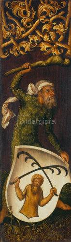 Albrecht Dürer: Bildnistriptychon Oswolt Krel. (Rechter Flügel: Wilder Mann mit Wappen der Agathe von Esendorf). 1499