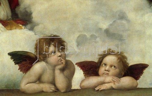 Raffael (Raffaello Sanzio): Zwei Engel. Detail aus Die Sixtinische Madonna.
