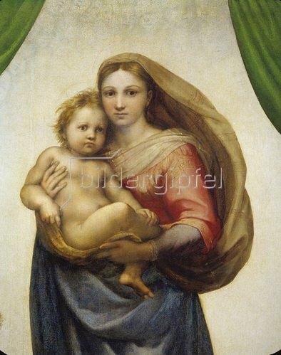 Raffael (Raffaello Sanzio): Maria mit dem Kind. Sixtinische Madonna. Detail.