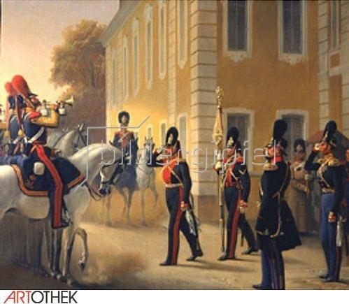 Adolf Gebens: Wachablösung der Leibgarde im Grossen Palast Peterhof. 1853.