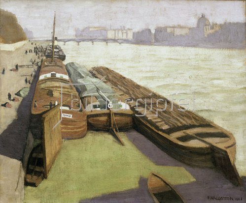 Lastkähne am Seine-Ufer von Felix Vallotton
