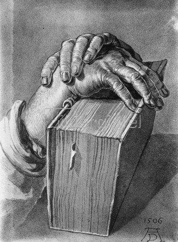 Albrecht Dürer: Händestudie mit Buch, 1506