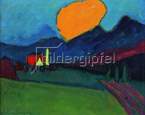 Alexej von Jawlensky: Murnau - Landschaft orange Wolke, um 1909.
