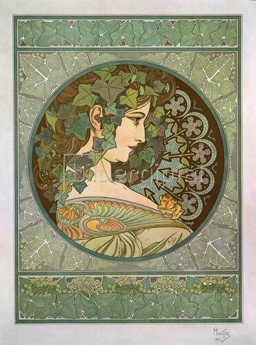 Alfons Mucha: Efeu 1901 (Gegenstück zu Lorbeer)