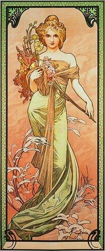 Alfons Mucha: Jahreszeiten: Der Frühling 1900
