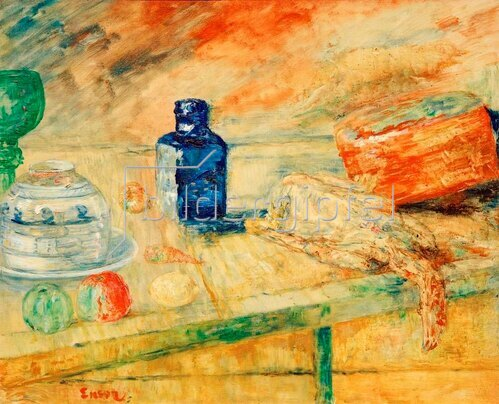 James Ensor: Der blaue Flacon, 1917