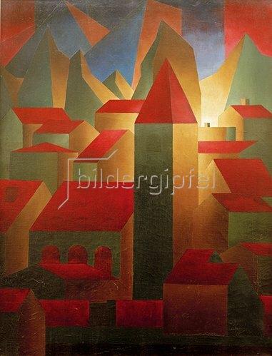 Carl Grossberg: Häuser, Turm, Gebirge, 1919/20