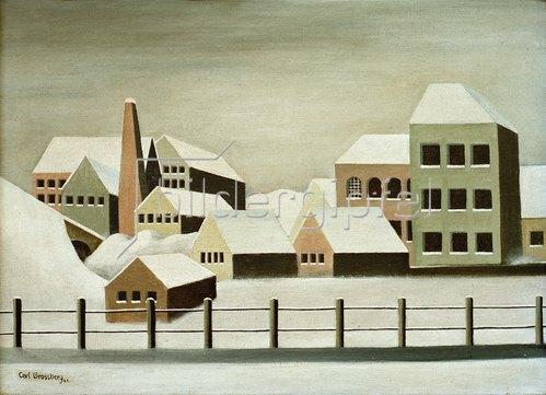 Carl Grossberg: Fabriklandschaft im Schnee, 1923