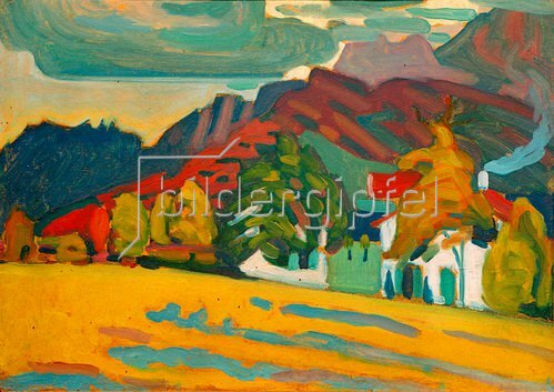Wassily Kandinsky: Häusergruppe vor Gebirge (bei Murnau)