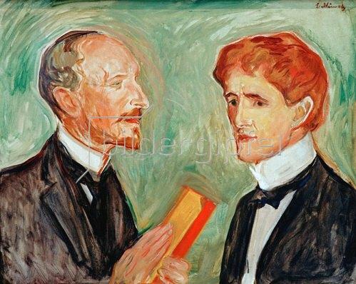 Edvard Munch: Albert Kollmann, Kunsthändler (Förderer Edvard Munchs), und der dänische Schriftsteller Sten Drewsen