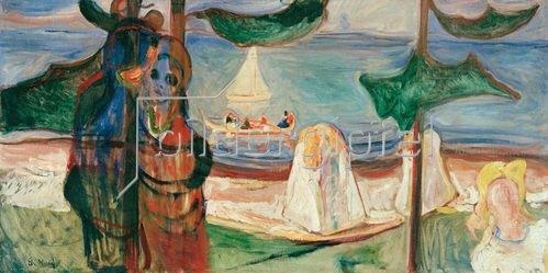 Edvard Munch: Sommertag, Öl auf Leinwand, 90 × 195 cm, Aus dem Linde-Fries, Oslo, Privatsammlung.