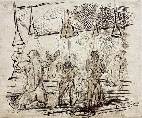 Max Beckmann: Soldatenbad _ duschende Soldaten, 1915