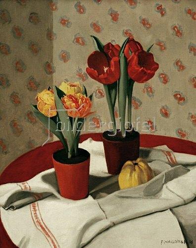Felix Vallotton: Zwei Töpfe mit gelben und roten Tulpen, 1916