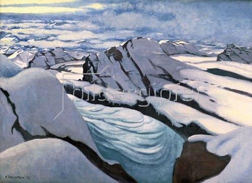 Felix Vallotton: Hochgebirge: Gletscher und verschneite Gipfel, 1919