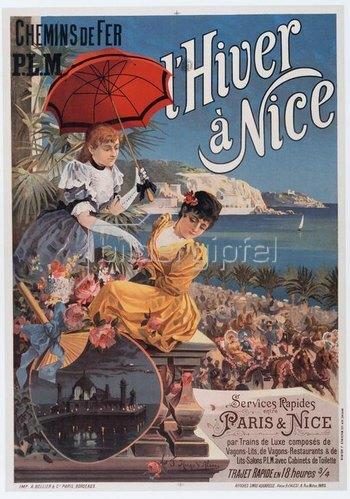 Eisenbahn, Chemins de Fer P. l. M., Nizza / Plakat um 1895