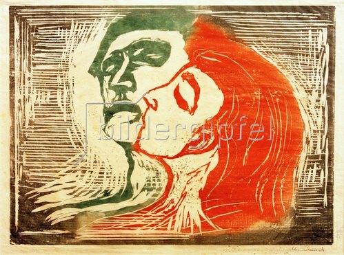 Edvard Munch: Kopf bei Kopf (Mann und Weib, sich küssend), 1905