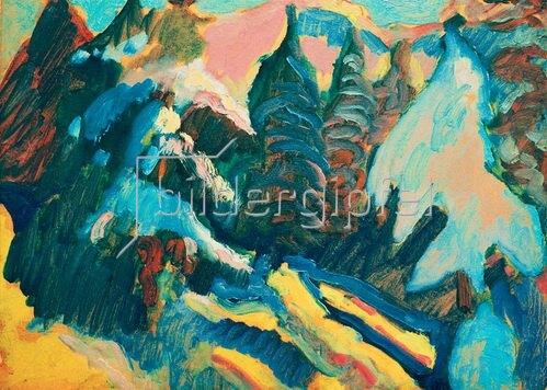 Wassily Kandinsky: Kochel, Verschneite Bäume, 1909.