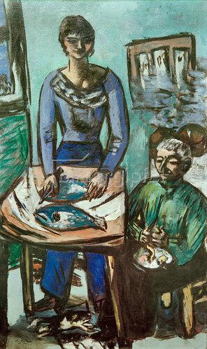 Max Beckmann: Die Küche (Quappi mit Fischen), 1936