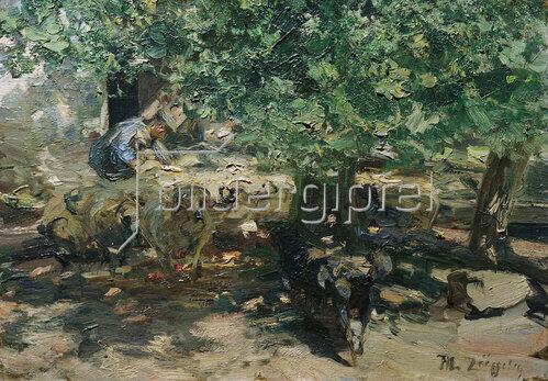 Heinrich von Zügel: Vor dem Stall (Schafherde drängt in den Stall)