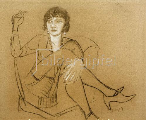 Max Beckmann: Quappi im Clubsessel rauchend, 1927