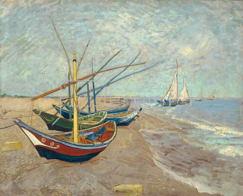 Vincent van Gogh: Fishing boats on the beach of Les Saintes-Marie-de-la-Mer, 1888