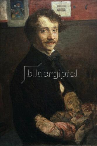 Wojciech Weiss: Selbstportrait mit Maske, 1900