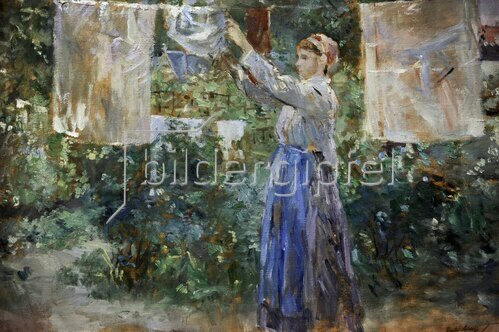 Berthe Morisot: Peasant girl hanging clothes to dry, 1881