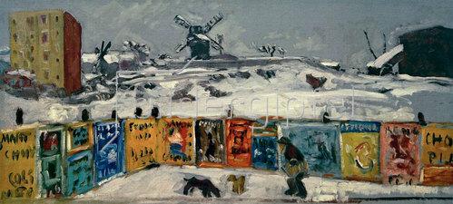 Pierre Bonnard: Bauzaun, mit Plakaten beklebt, Montmartre