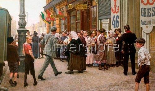 Maximilian Lenz: Brotverkauf in Wien im 3. Bezirk. 1918.