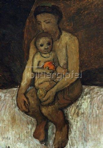 Paula Modersohn-Becker: Sitzende Mutter mit Kind auf dem Schoß, 1906