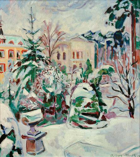 Oskar Moll: Verschneiter Park mit Häusern