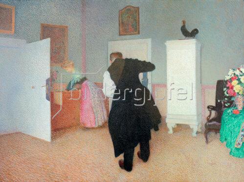 Sigmund Walter Hampel: Zimmer mit sich anziehendem alten Mann, um 1903