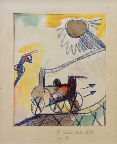 """Kurt Schwitters: Aq. 14 (Lokomotive rückwärts) """", 1919."""