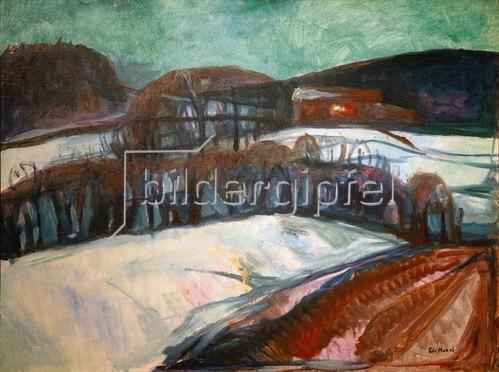 Edvard Munch: Das rote Haus im Schnee (Nächtliche Schneelandschaft), 1923/26
