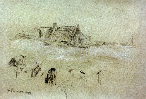 Max Liebermann: Strandhäuser, im Vordergrund Ziegen