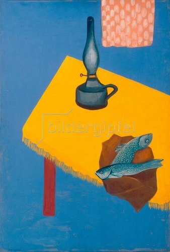 David Petrovich Sterenberg: Still life with lamp and herrings,1920.