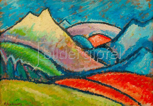 landschaft oberstdorf 1912 jawlensky f lschung von unbekannter k nstler kunstdruck. Black Bedroom Furniture Sets. Home Design Ideas