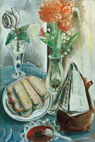 Paul Kleinschmidt: Stilleben mit Kaffeekanne, Blumen und Gebäck, 1930