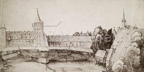 Albrecht Dürer: Der Trockensteg beim Hallertor in Nürnberg, um 1500