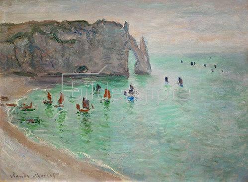Claude Monet: Porte d'Aval bei Etretat, Ausfahrt der Fischerboote.