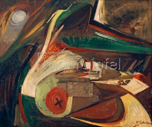 Kurt Schwitters: Abstraktes Bild,1943., Öl auf Leinwand, 63 × 75,5 cm.Privatbesitz.