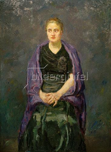 Max Beckmann: Bildnis Minna Beckmann-Tubemit violettem Schal, 1909