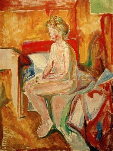 Edvard Munch: Sitzender Akt auf der Bettkante, 1916