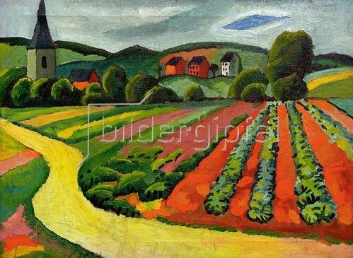 August Macke: Landschaft mit Kirche und Weg, 1911