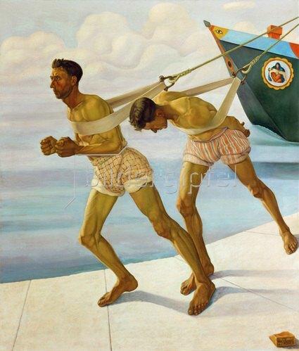 Cagnaccio di San Pietro: L' Alzana (Zwei Treidler), 1926