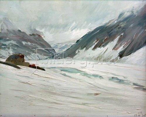 Kurt Schwitters: Djupvand med sne (Djupvand mit Schnee), 1938.