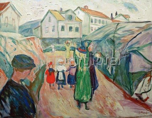 Edvard Munch: Dorfstraße KrageröMunch, Edvard 1863?1944, Dorfstraße Kragerö, 1911-13, Öl auf Leinwand, 80 × 100 cm, Staff-Stiftung, Lemgo,
