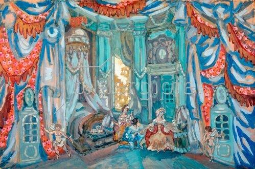 Sergei Jurjewitsch Sudeikin: Bühnenbildentwurf zu Figaros Hochzeit 1915