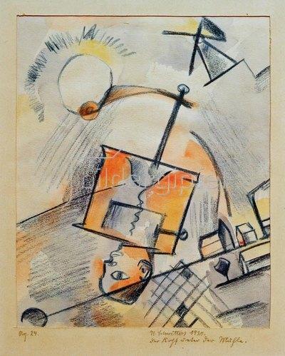 Kurt Schwitters: Der Kopf unter der Mühle, 1920.