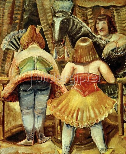 Paul Kleinschmidt: Zirkuspferd mit drei Frauen, 1929